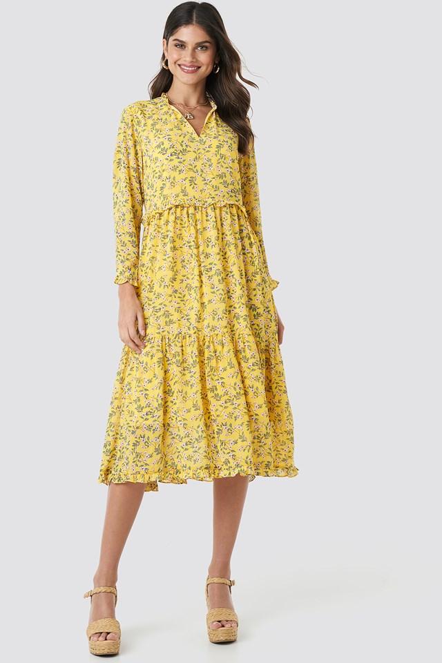 V-Neck Flower Print Chiffon Dress Yellow Flower