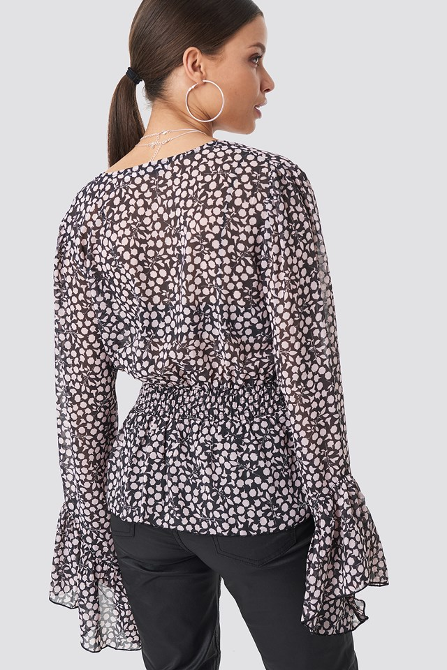 V-Neck Frill Sleeve Top Dark Grey/Pink Flowers
