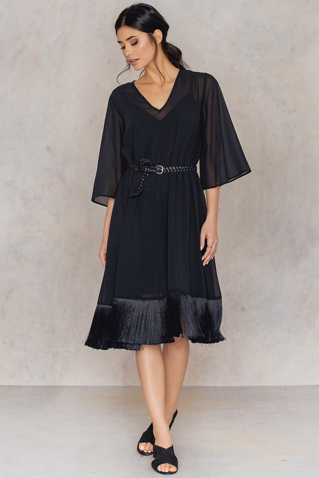 V-neck Fringe Chiffon Dress NA-KD.COM