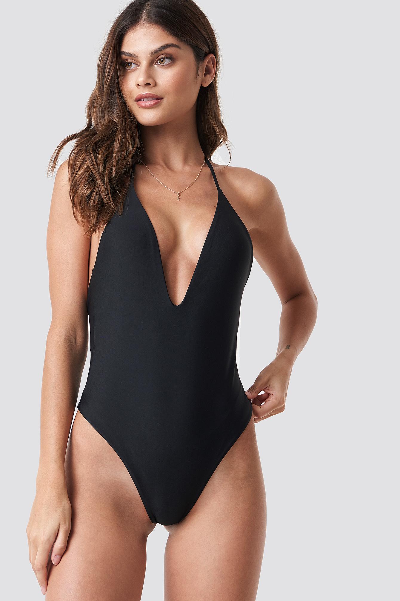 V-neck Halterneck Swimsuit NA-KD.COM