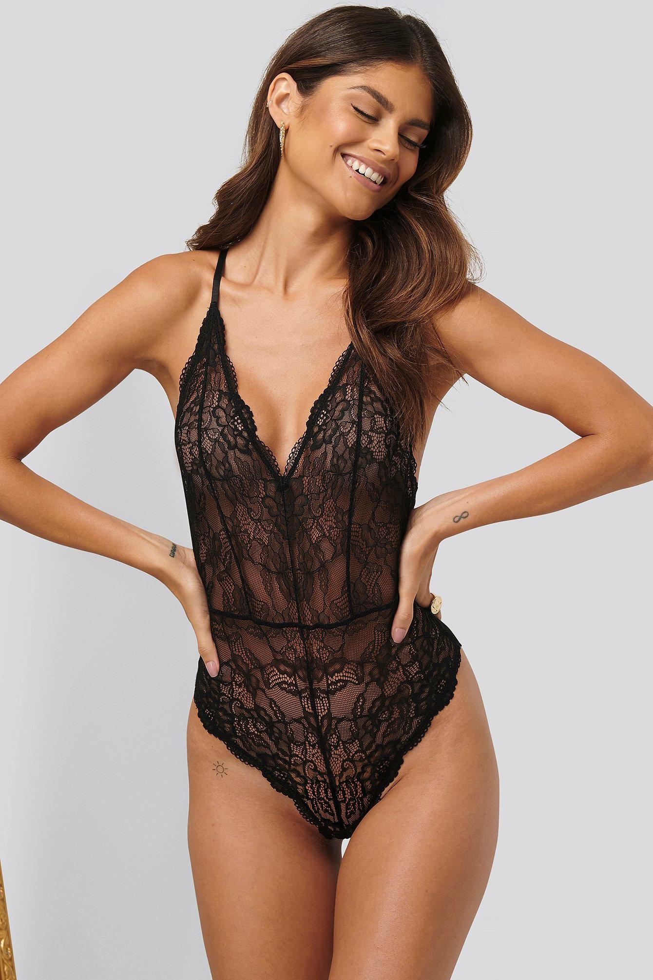 na-kd lingerie -  V-Neck Lace Bodysuit - Black