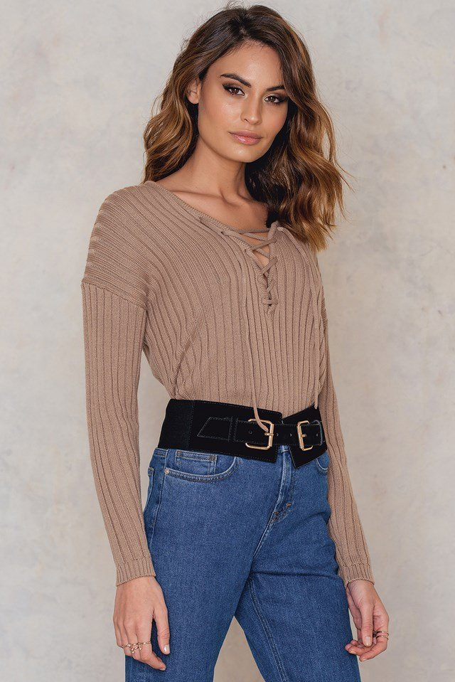 V neck Lacing Front Rib Knitted Sweater Beige