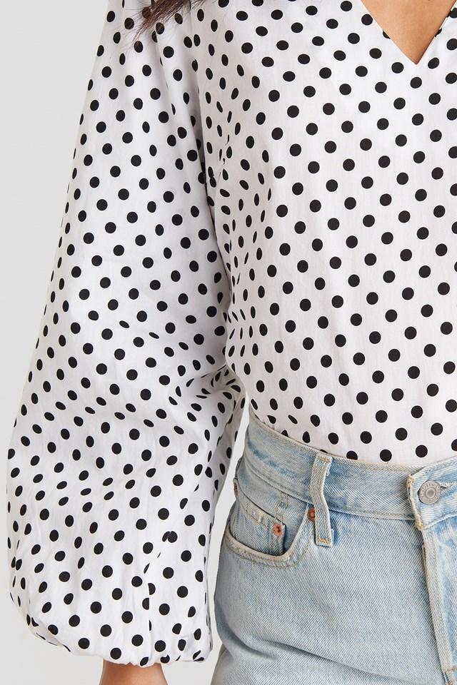 V-Neck Long Puff Sleeve Top White/Black Dot
