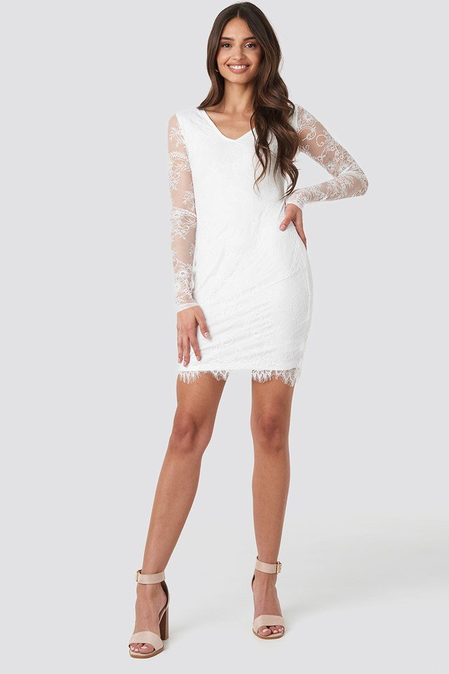 V-Neck Long Sleeve Lace Dress White