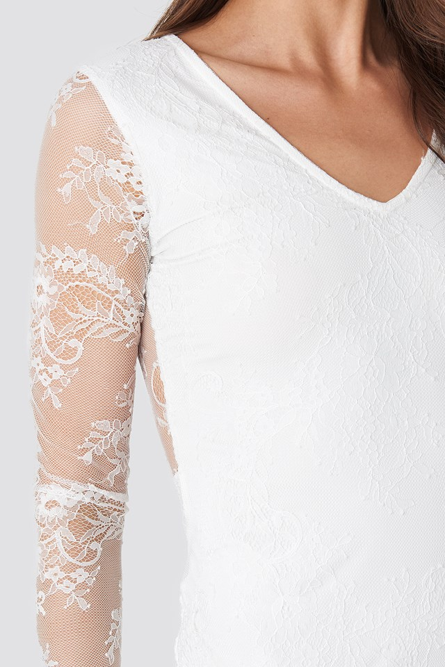 V-Neck Long Sleeve Lace Dress NA-KD.COM