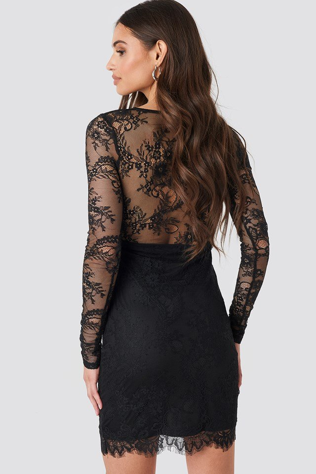 V-Neck Long Sleeve Lace Dress Black