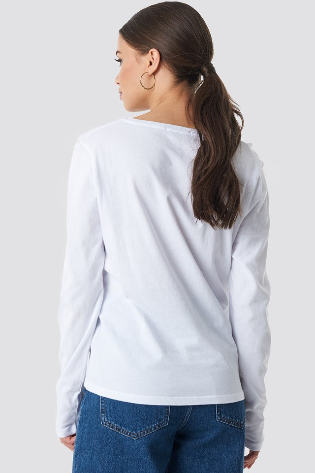 V-neck Long Sleeve Top White