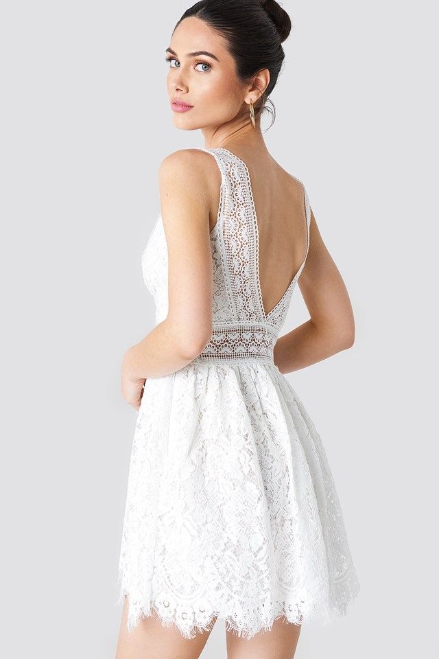 V Neck Mini Lace Dress White