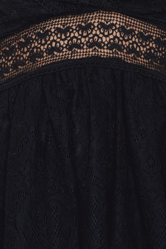 V Neck Mini Lace Dress Black