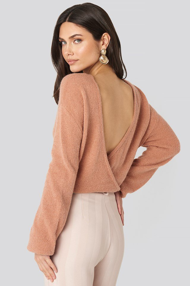 V-Neck Back Overlap Knitted Sweater Dusty Pink