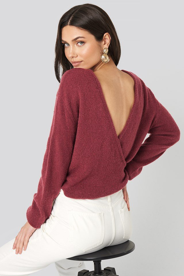 V-Neck Back Overlap Knitted Sweater Bordeaux