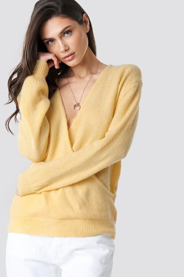 V-Neck Overlap Knitted Sweater Light Yellow
