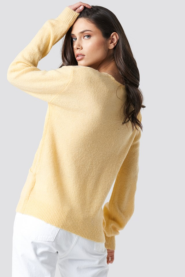 V-Neck Overlap Knitted Sweater Light Yellow