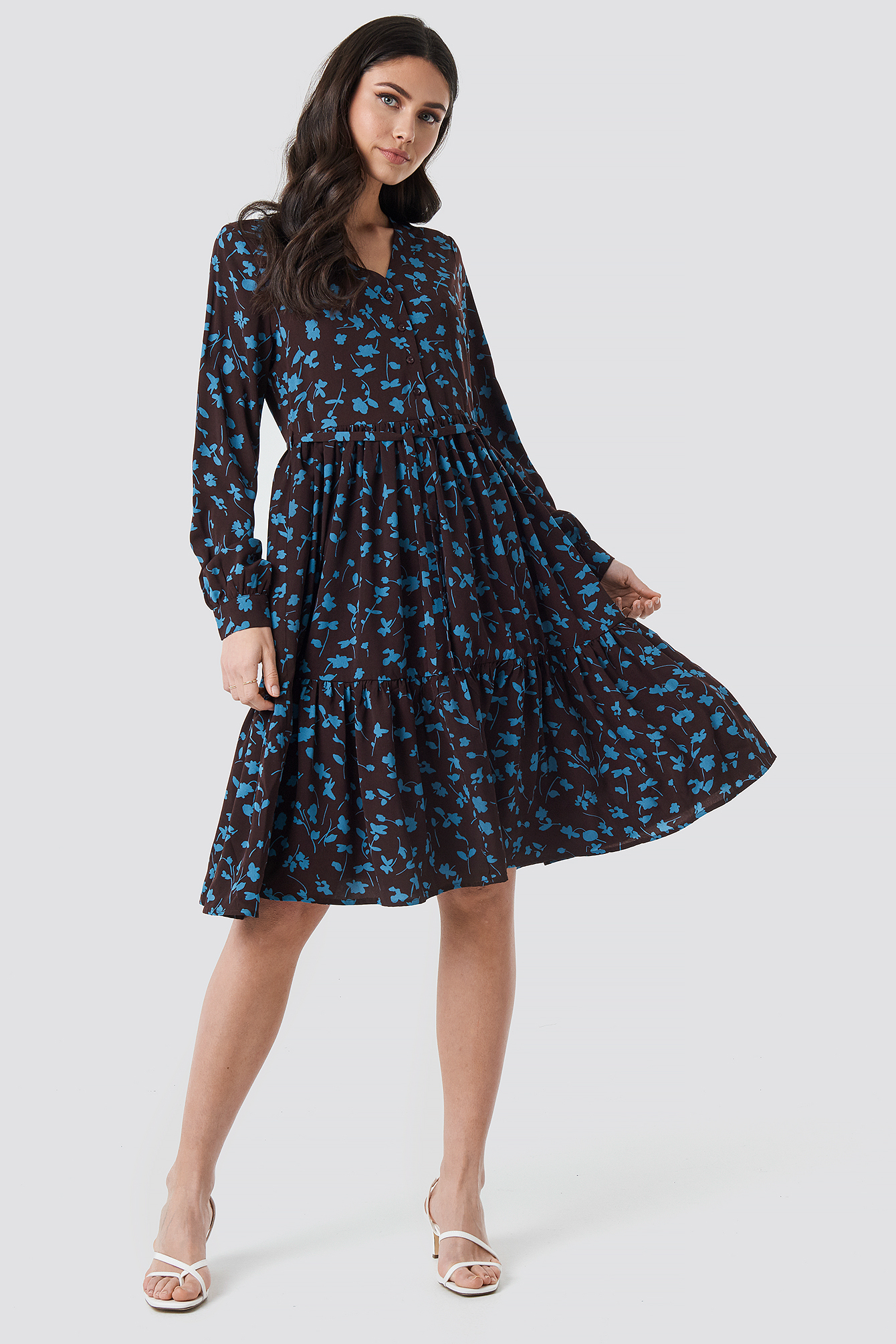 V-Neck Printed Ruffle Dress NA-KD.COM