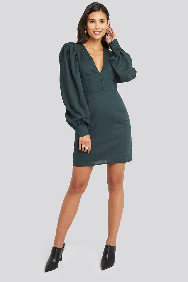 V-Neck Puff Sleeve Dress Dark teal