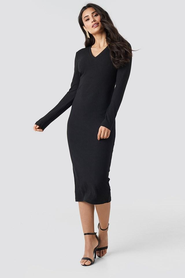 V-neck Ribbed Midi Dress Black