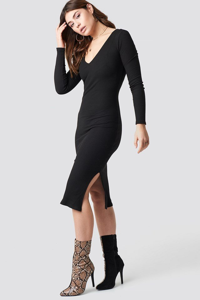 V-neck Ribbed Midi Dress Black