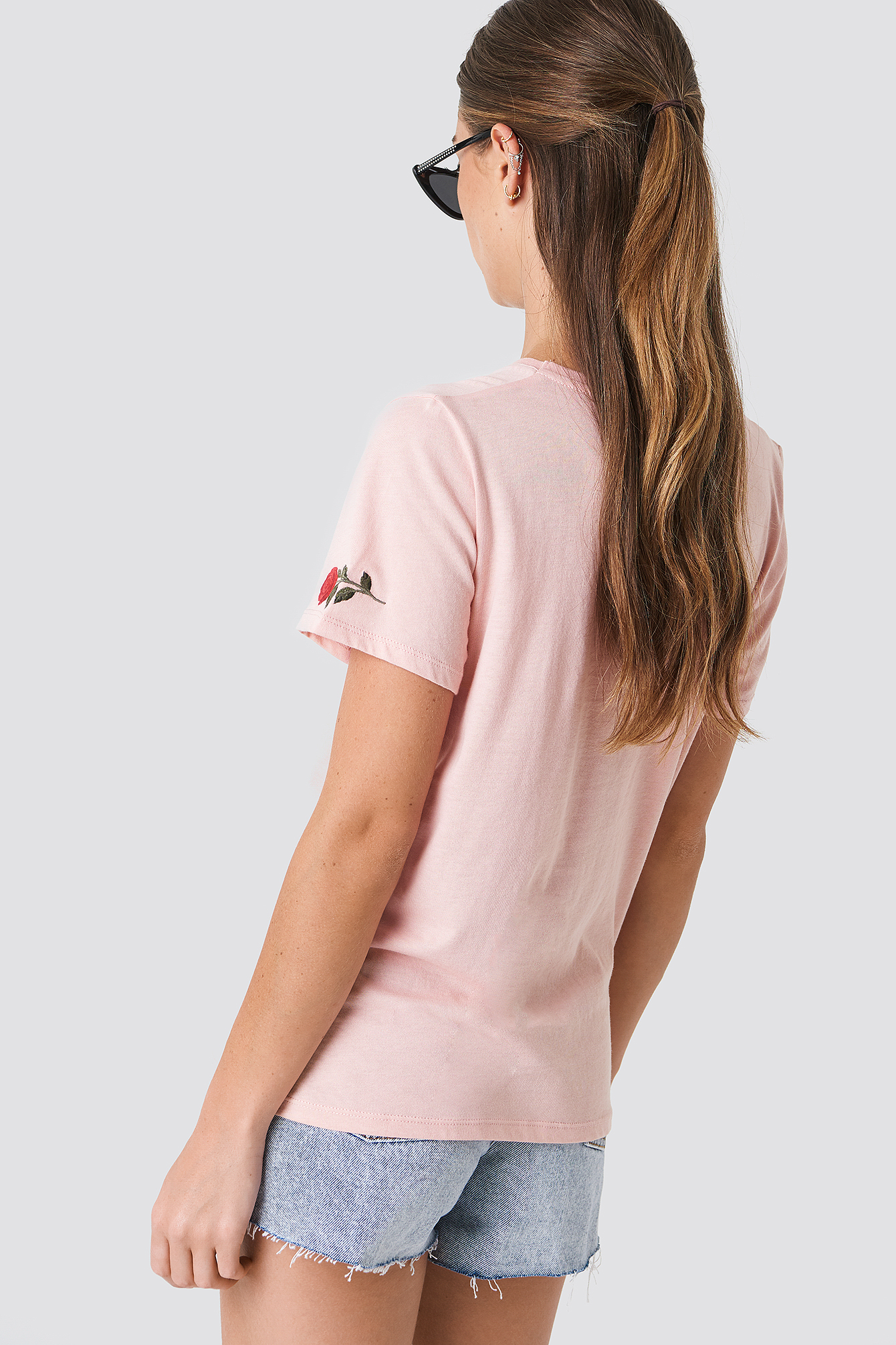Light Pink V-neck Rose Embroidery Tee