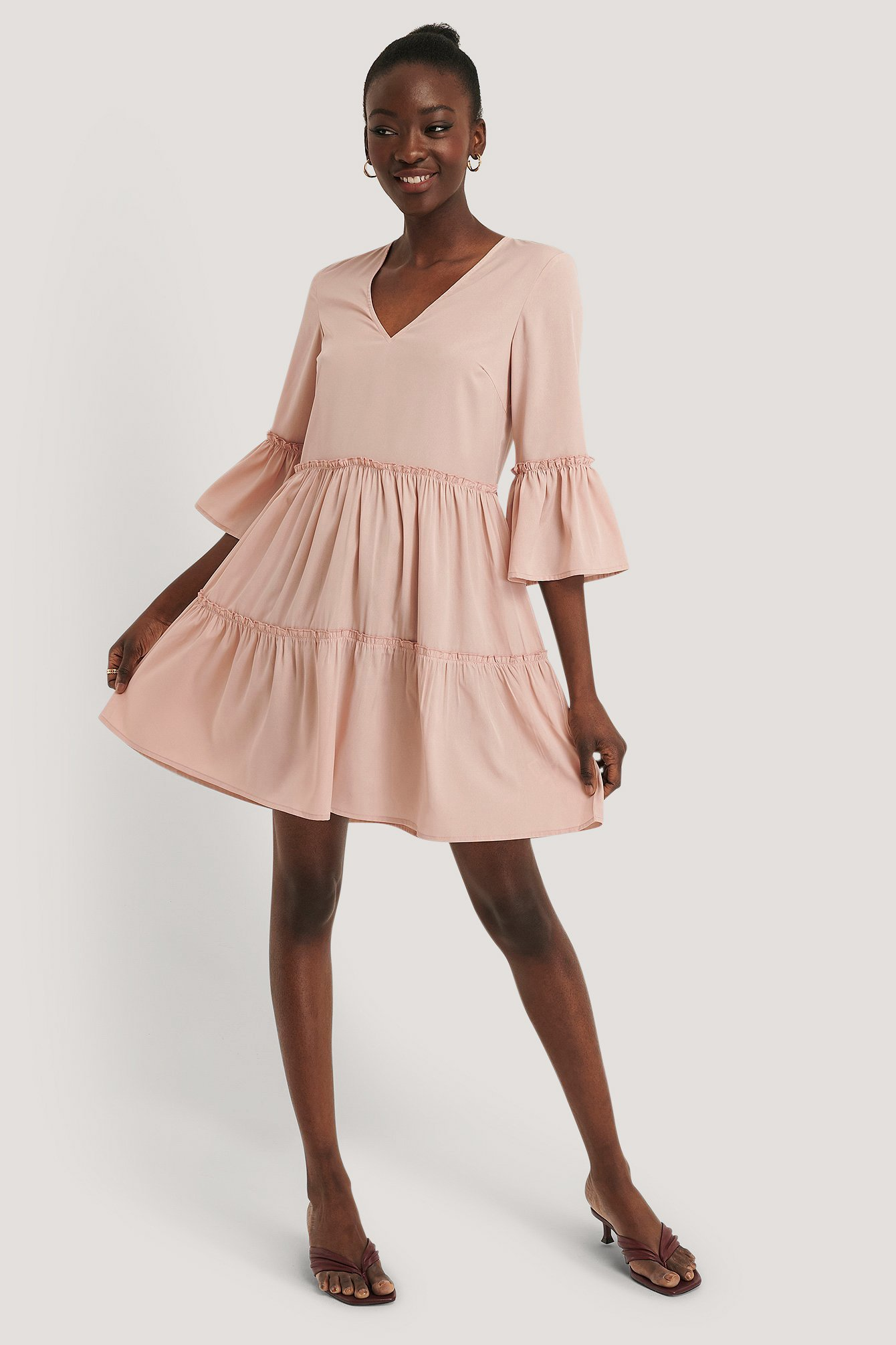 Dusty Pink V-neck Ruffle Dress