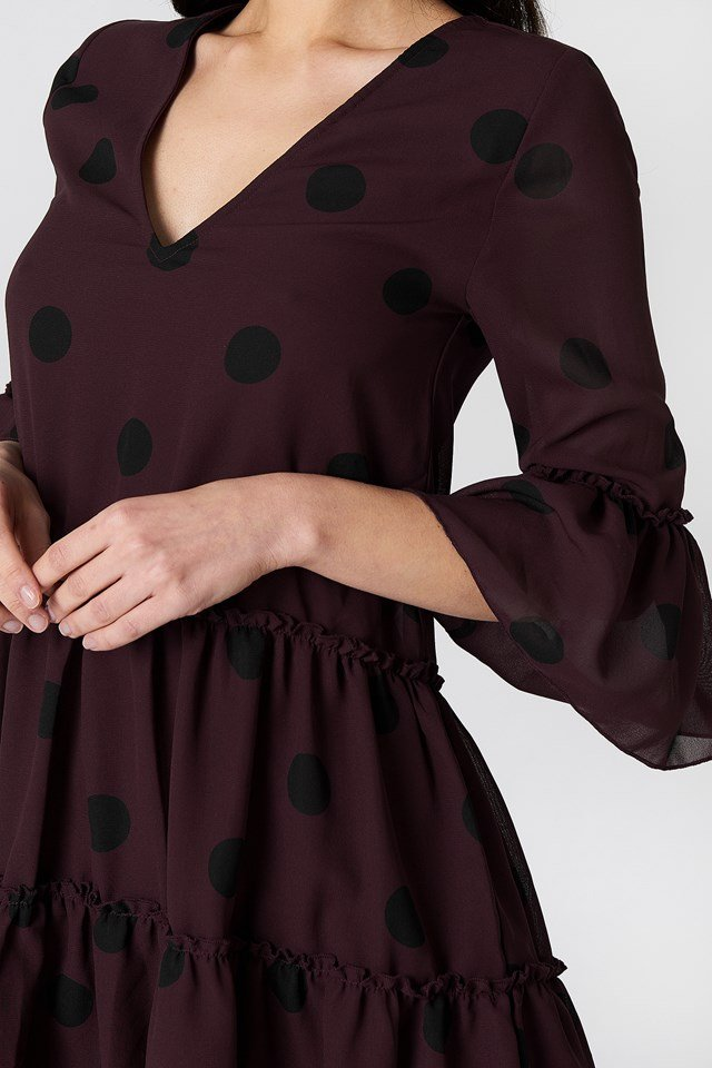 V-Neck Ruffle Mini Dress Burgundy/Black Dots