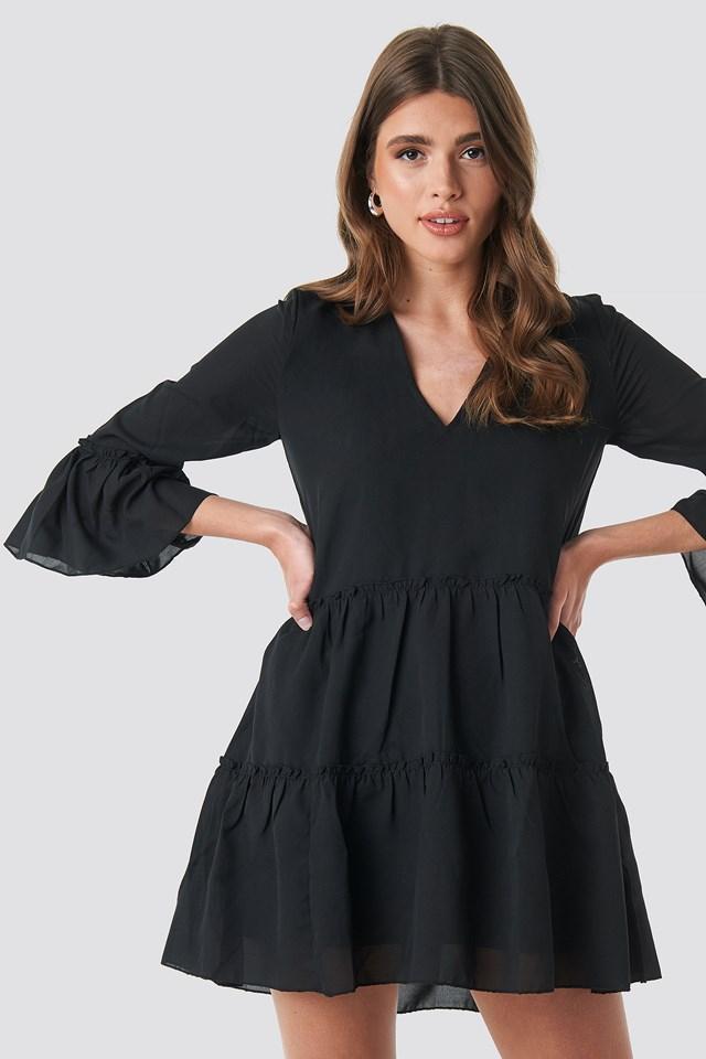 V-Neck Ruffle Mini Dress Black