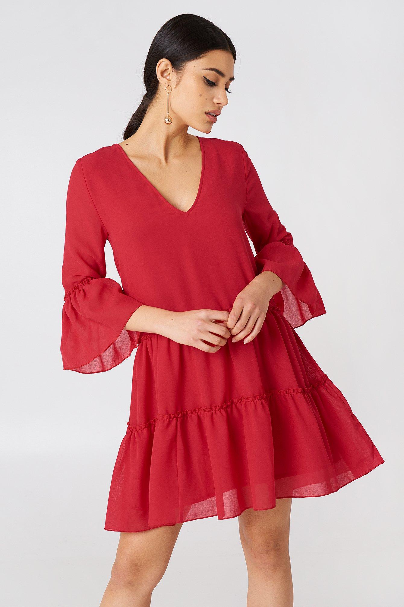 NA-KD Boho V-Neck Ruffle Mini Dress - Red