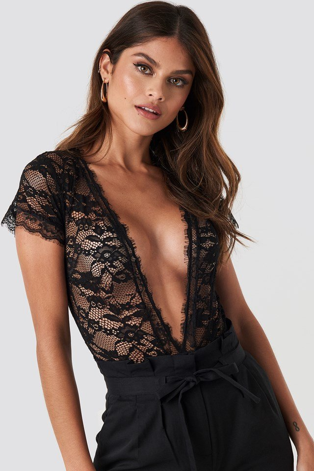 V-Neck Short Sleeve Lace Bodysuit Black