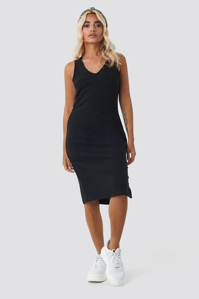 V-neck Structured Jersey Dress Black