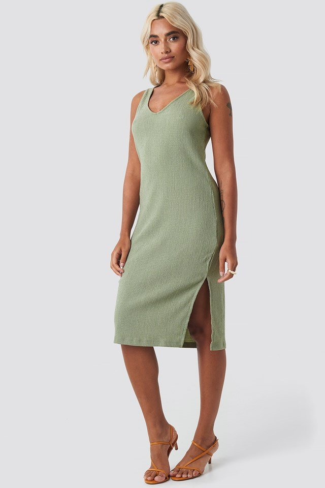 V-neck Structured Jersey Dress Khaki