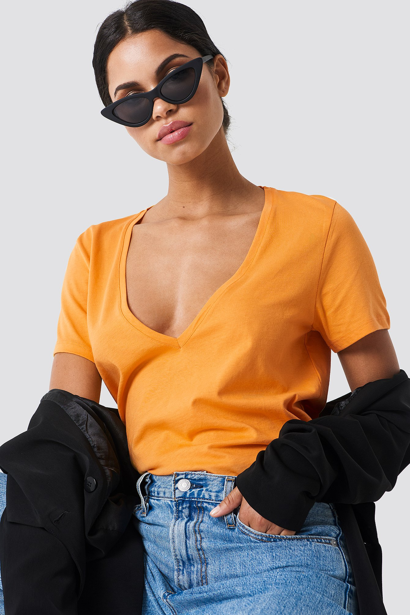na-kd basic -  V-Neck Tee - Orange