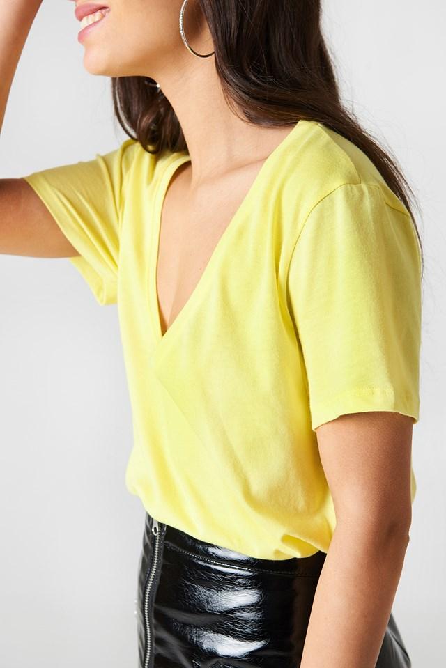 V-neck Tee Yellow Lime