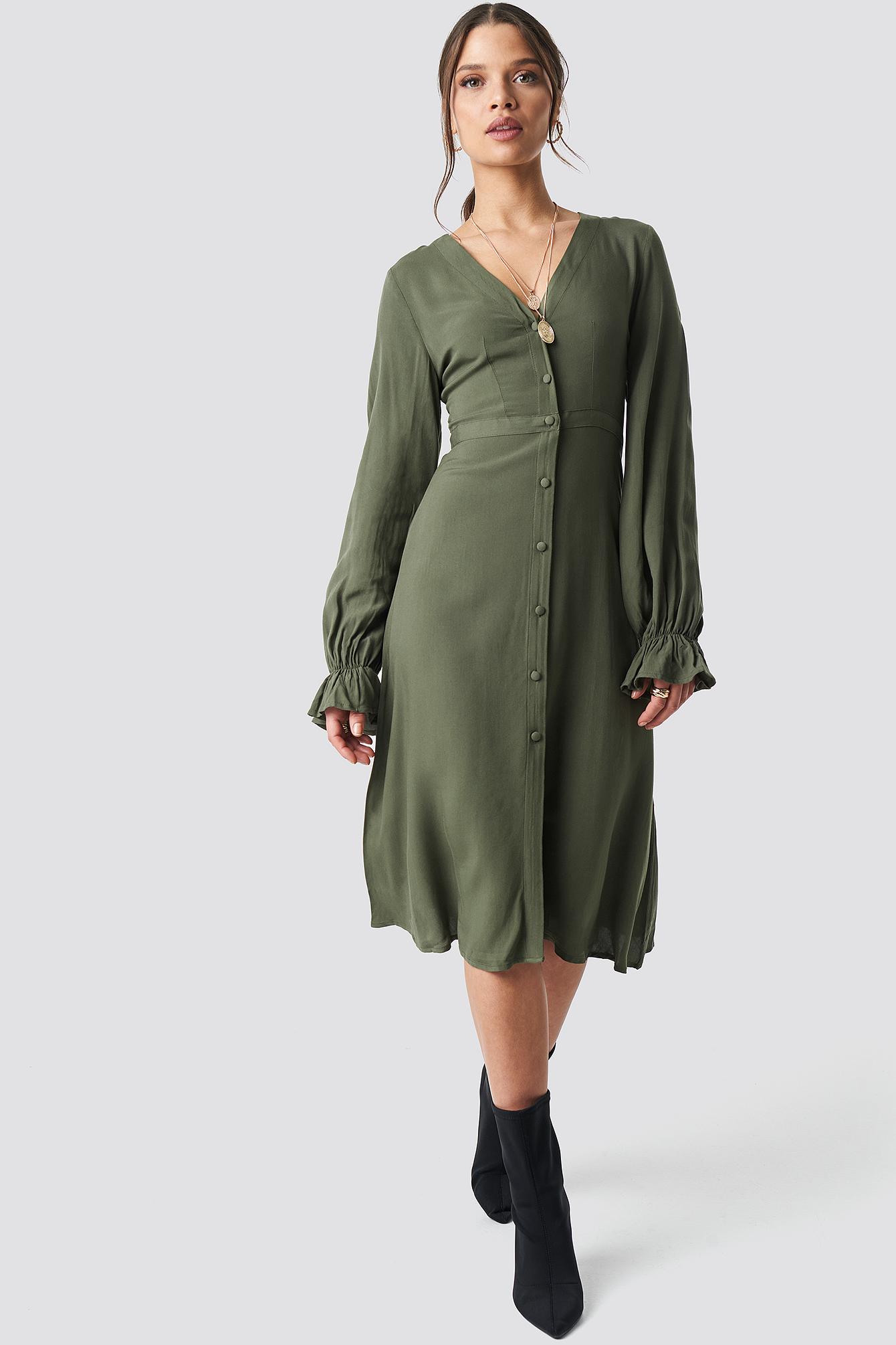 V-Neck Trumpet Dress NA-KD.COM