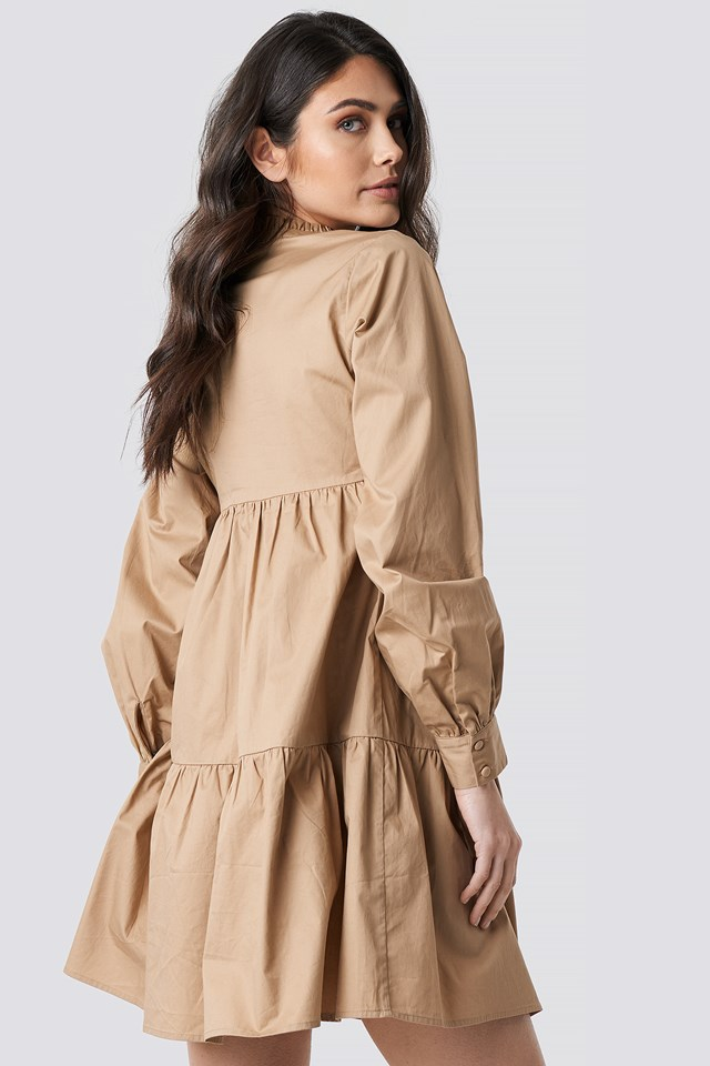 V-Neck Volume Sleeve Mini Dress Beige