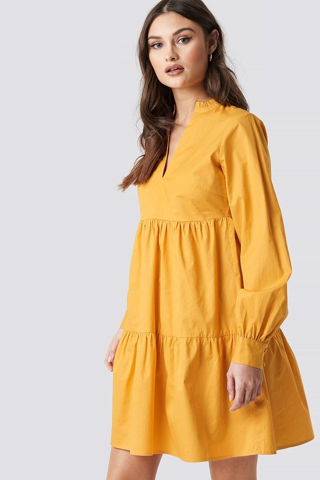 V-Neck Volume Sleeve Mini Dress Mustard Yellow