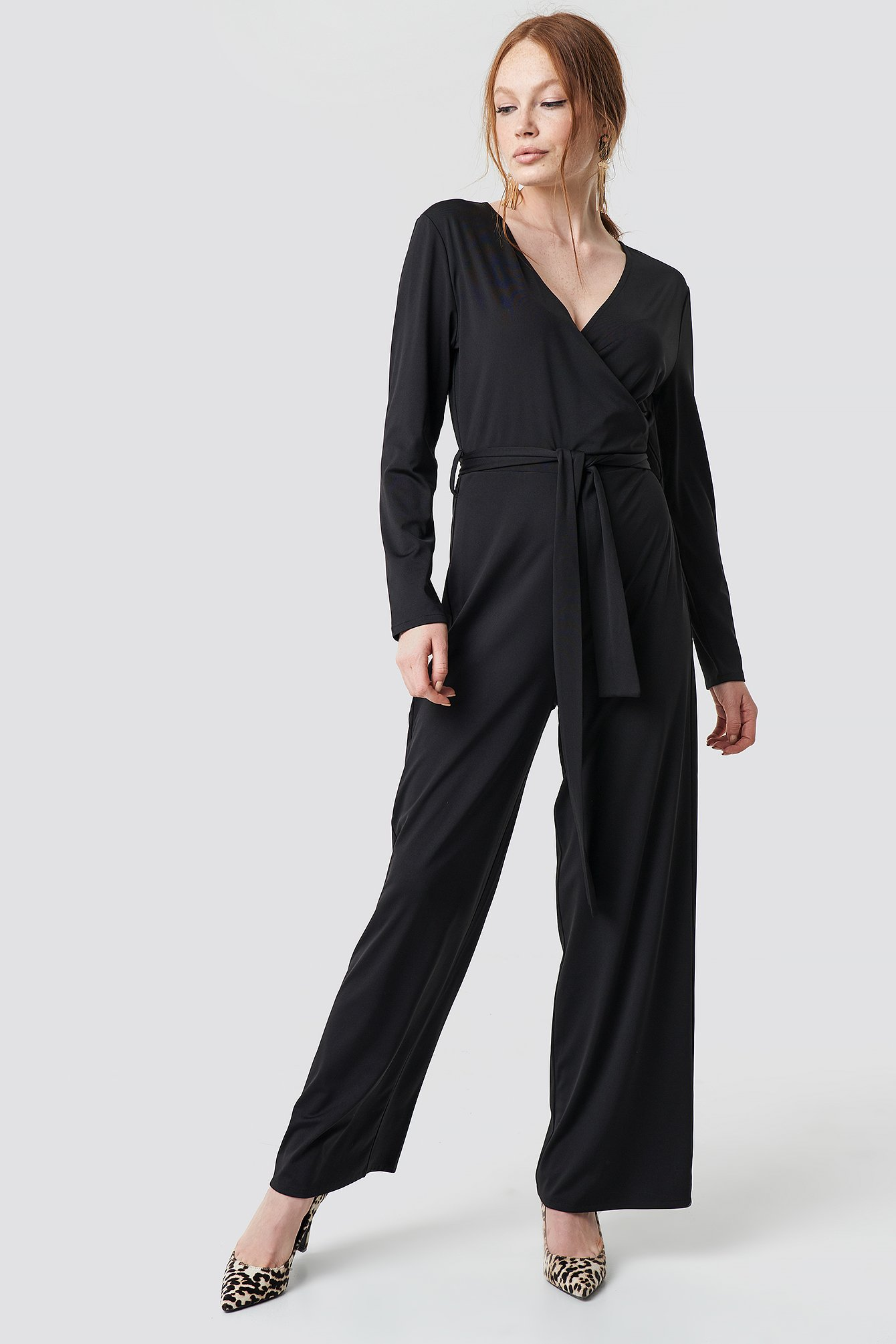 Black V-neck Wrap Jumpsuit