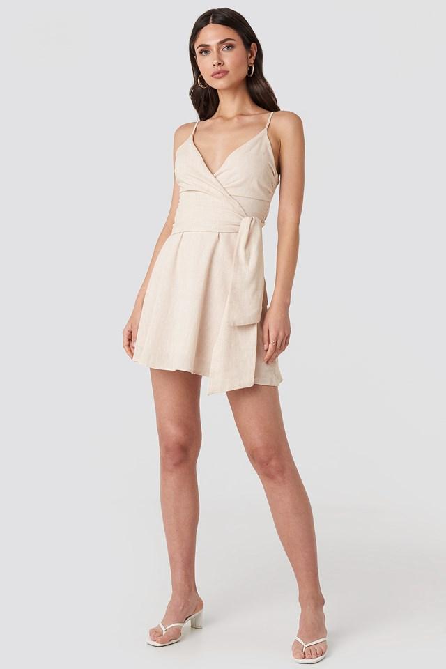 V-neck Wrap Mini Dress Beige