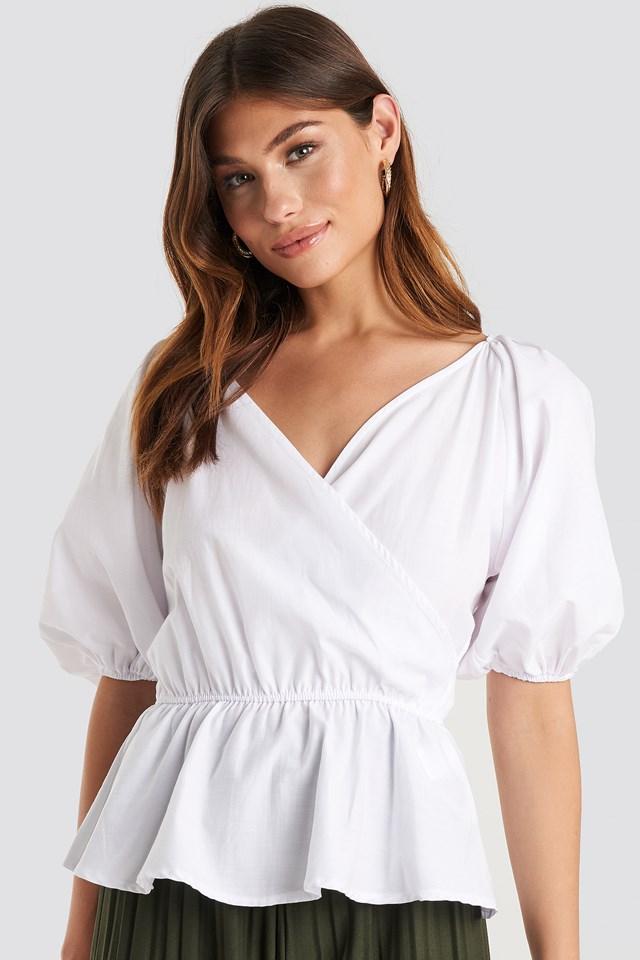 V Neck Wrap Over Elastic Waist Blouse White