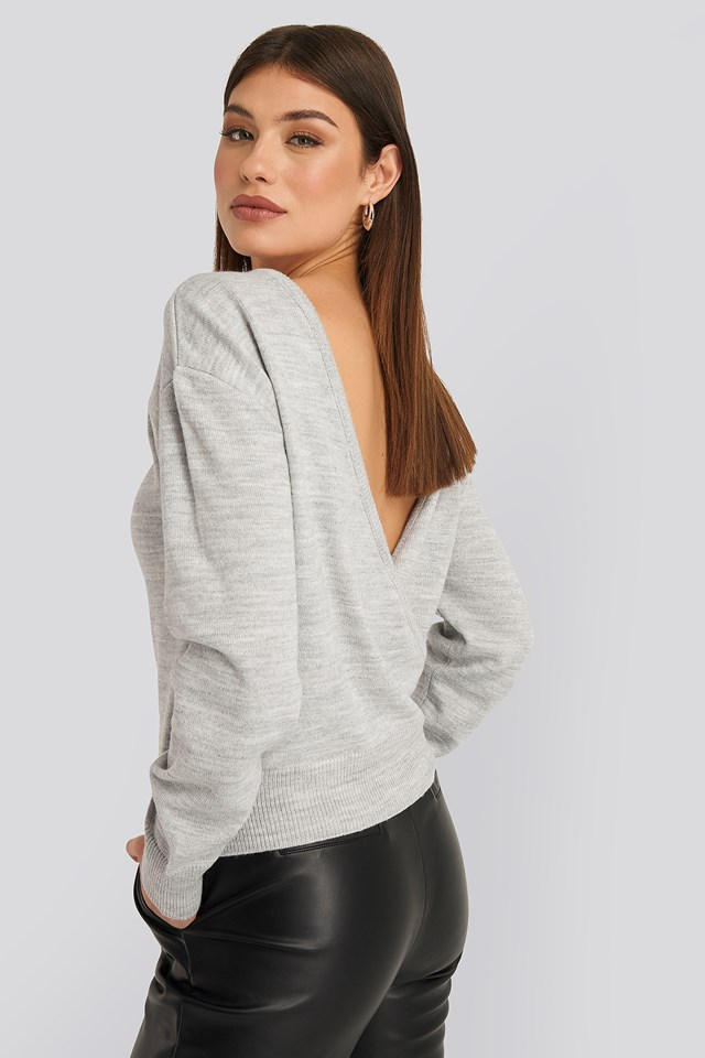 V-shape Deep Back Sweater Grey