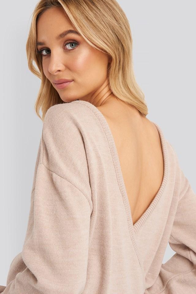 V-shape Deep Back Sweater Rose