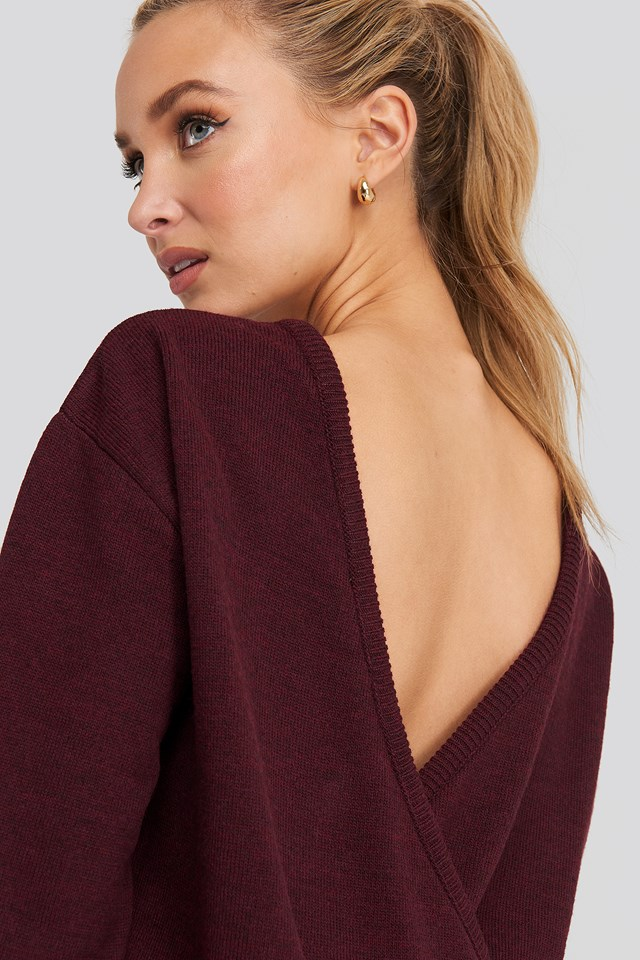 V-shape Deep Back Sweater Bordeaux