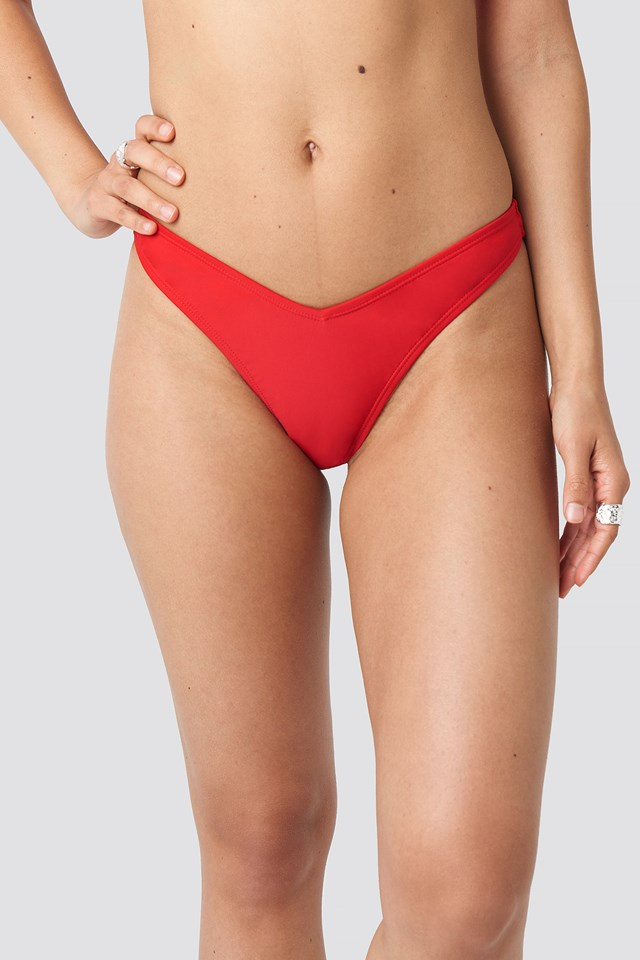 V Shape Front Bikini Bottom Red