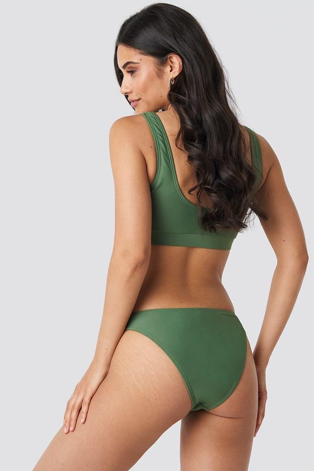 V Shape Front Bikini Bottom Khaki