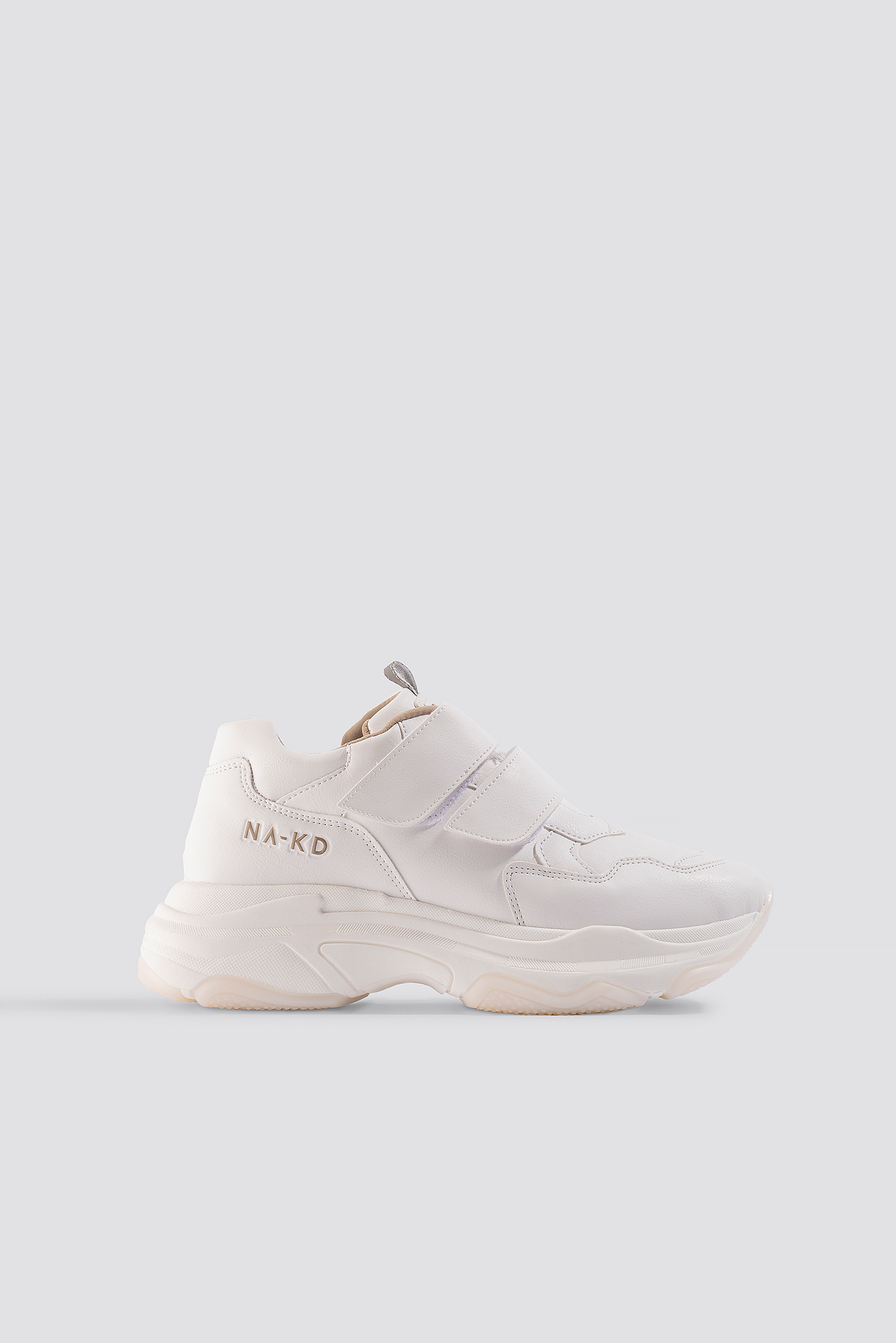 na-kd shoes -  Velcro Chunky Trainers - White,Offwhite
