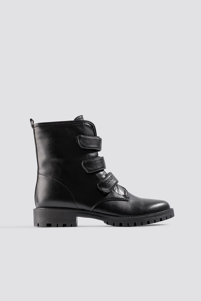 Velcro Combat Boots Black
