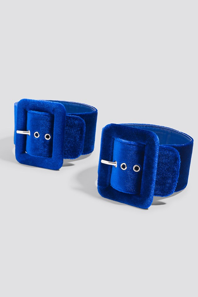 Velvet Ankle Cuffs Cobalt