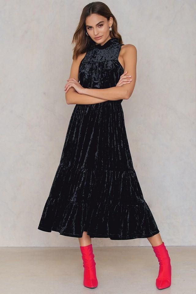 Velvet Ankle Dress Black