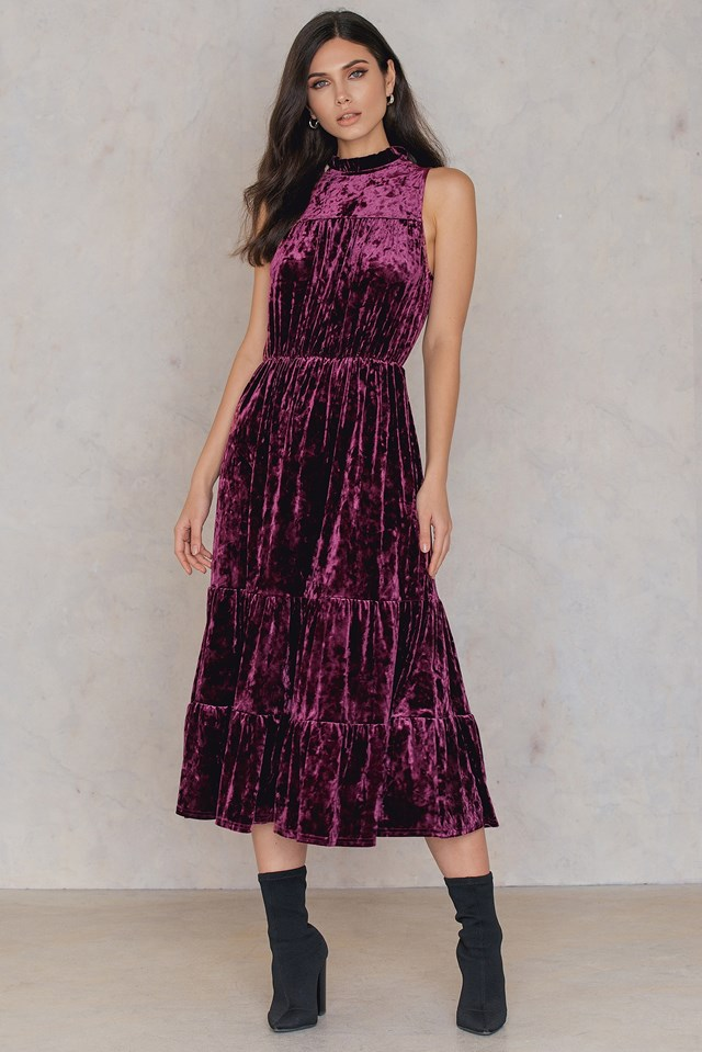 Velvet Ankle Dress Dark Purple Rose