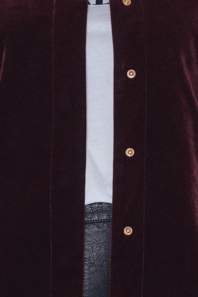 Velvet Bomber Jacket Wine Red