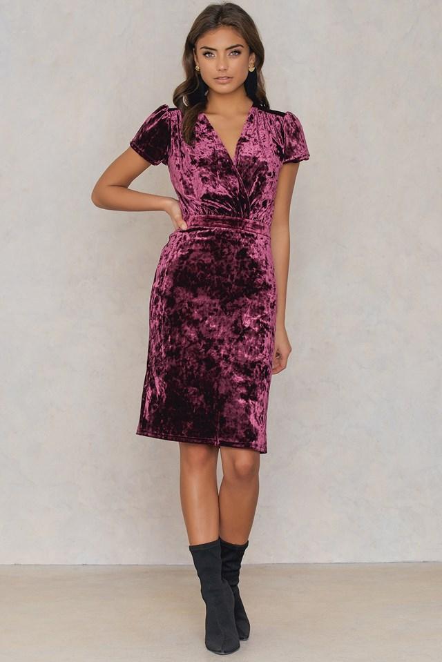Velvet Deep Neck Overlap Short Dress Dark Purple Rose