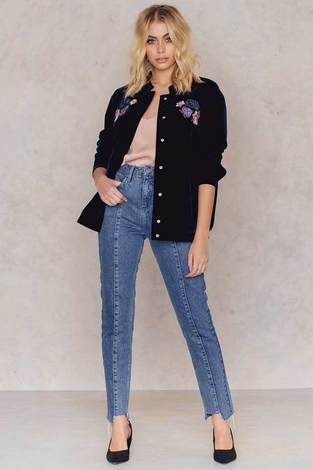 Velvet Embroidery Bomber Jacket Midnight Blue